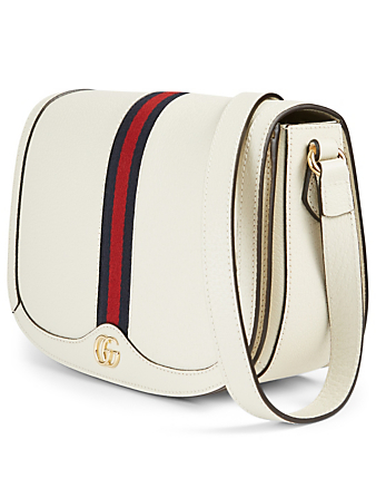 GUCCI Small Ophidia Leather Shoulder Bag Women's White