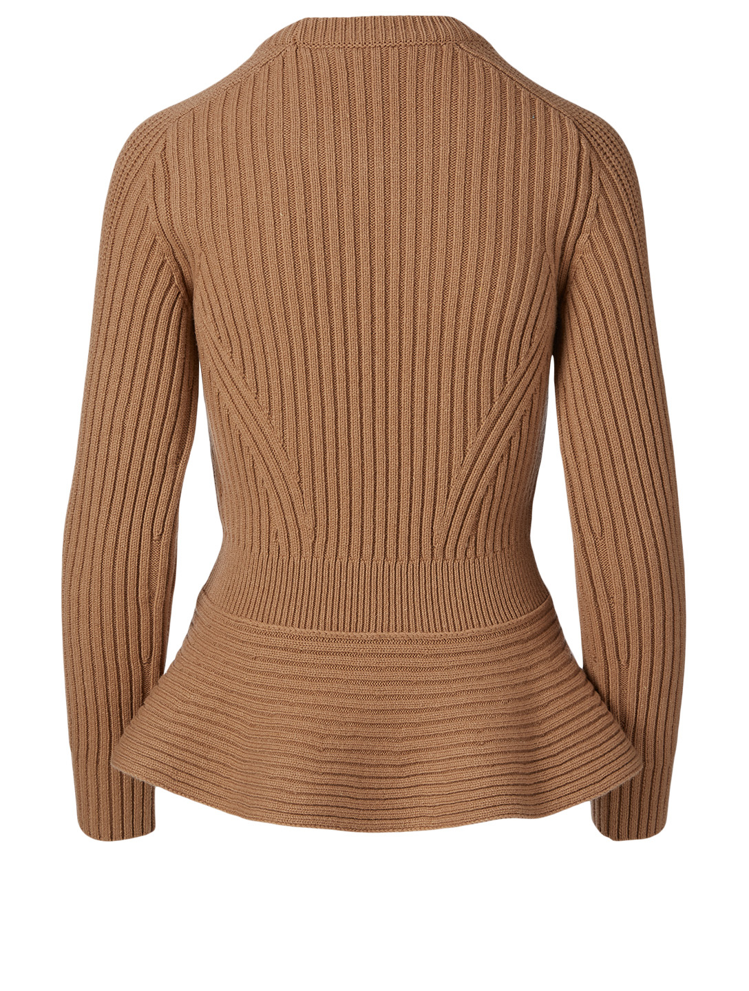 ALEXANDER MCQUEEN Wool And Cashmere Peplum Sweater Women's Beige
