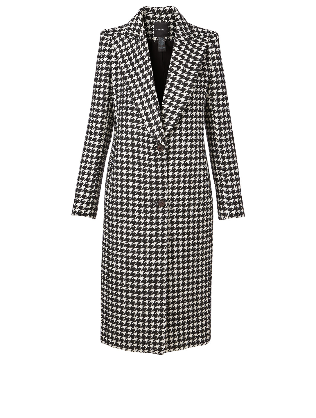 SMYTHE Peaked Lapel Midi Coat In Houndstooth Print Women's Black