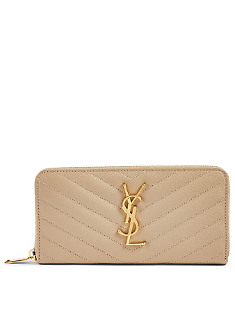 SAINT LAURENT YSL Monogram Leather Wallet Women's Grey