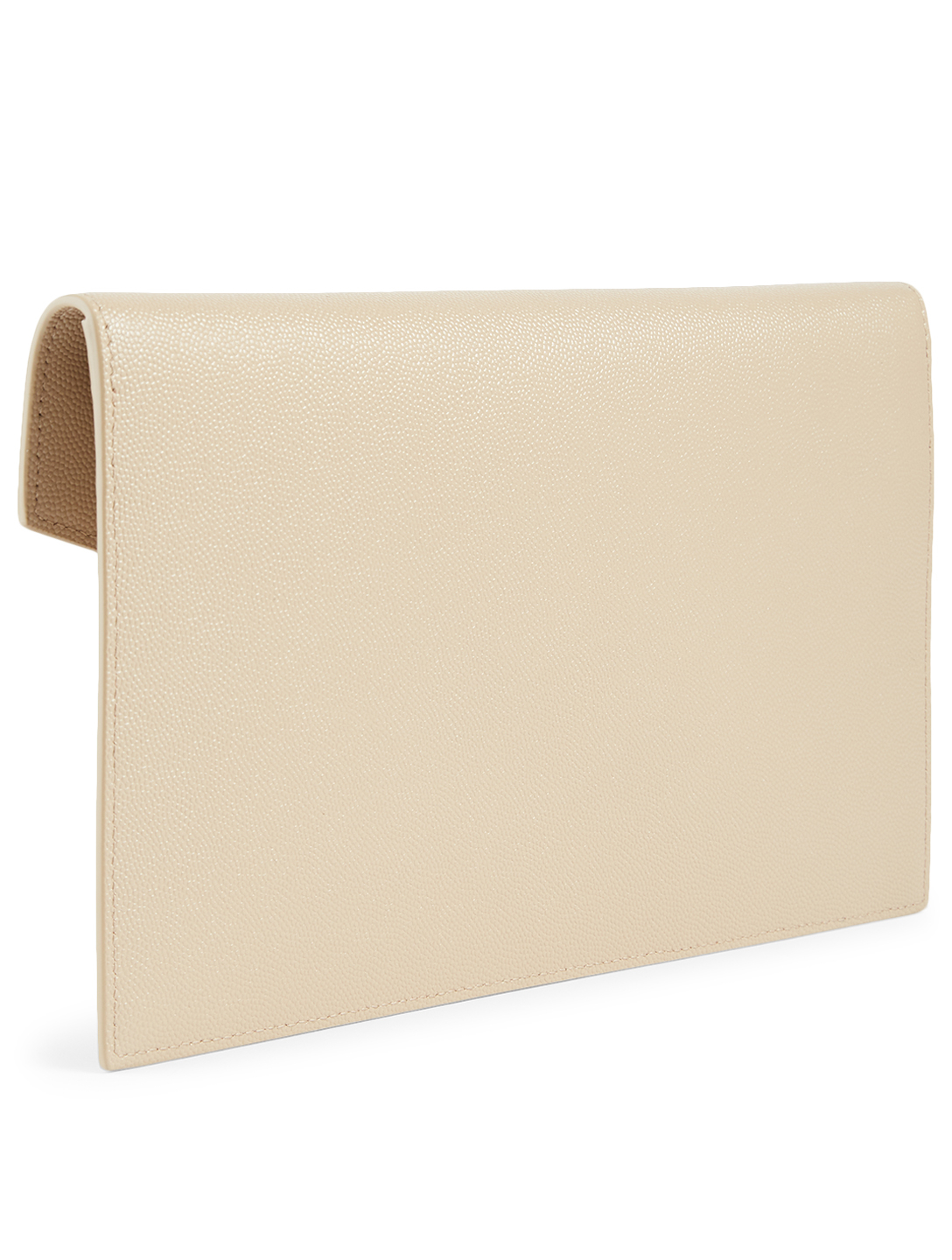 SAINT LAURENT Medium Uptown YSL Monogram Leather Envelope Clutch Bag Women's Beige