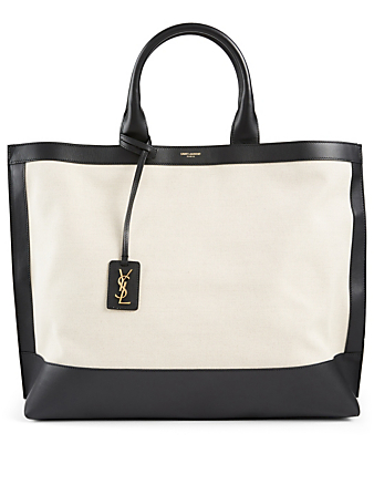SAINT LAURENT Shopping Tag Canvas And Leather Tote Bag Women's Grey