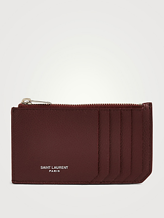 SAINT LAURENT Fragments Leather Zip Card Holder Women's Red