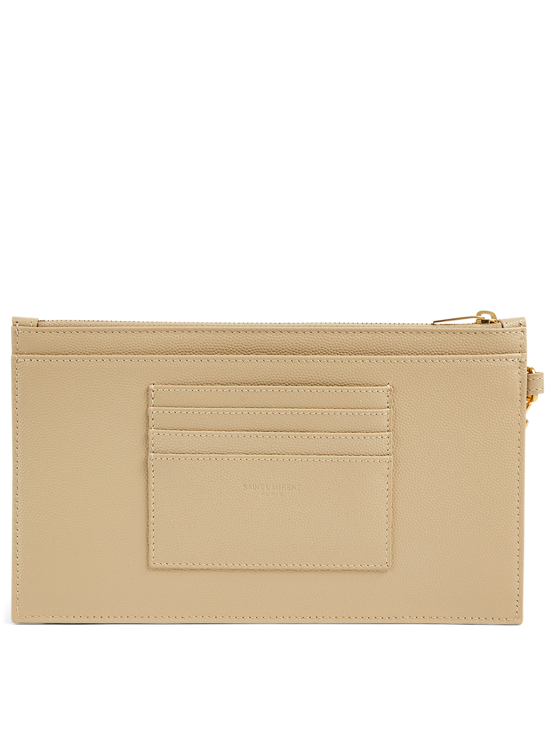 SAINT LAURENT Large YSL Monogram Leather Clutch Bag Women's Grey