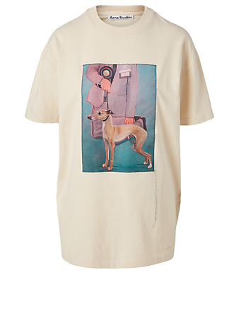 ACNE STUDIOS Cotton T-Shirt With Painting Women's White