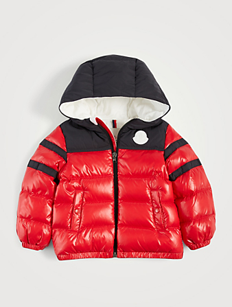 MONCLER ENFANT Elm Two-Tone Nylon Puffer Coat Kids Red