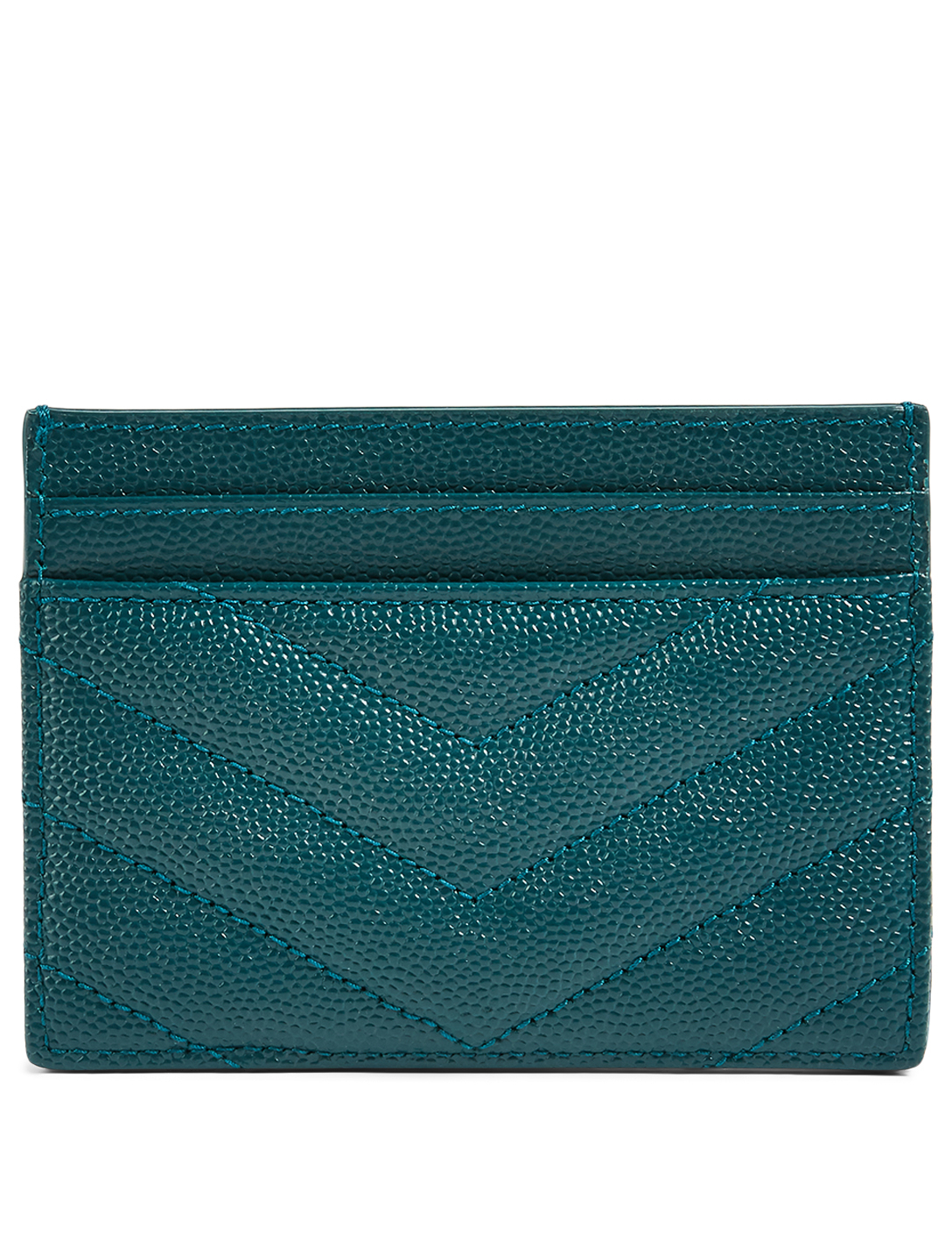 SAINT LAURENT YSL Monogram Leather Card Holder Women's Green