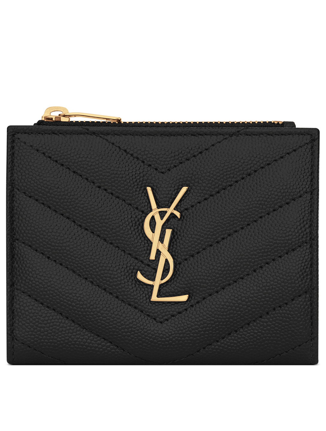 SAINT LAURENT YSL Monogram Leather Zipped Card Holder Women's Black