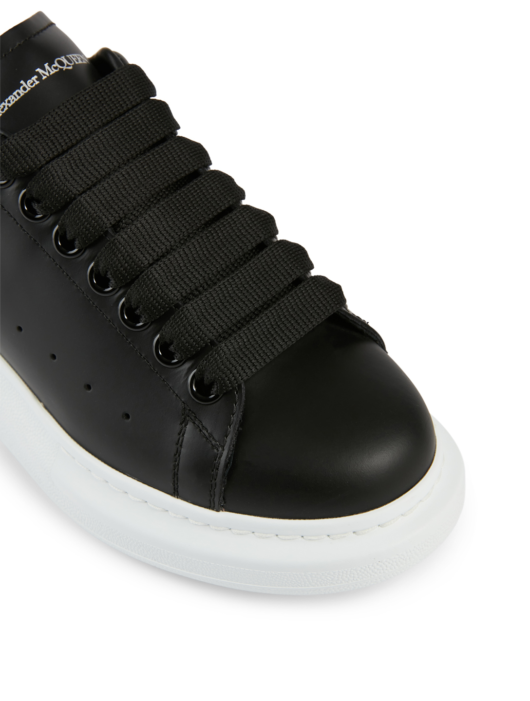 ALEXANDER MCQUEEN Oversized Leather Sneakers With Heart Tab Women's Black