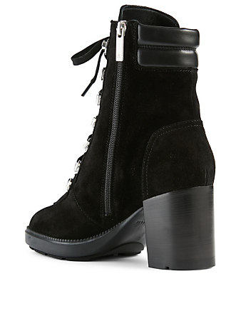 AQUATALIA Iriana Suede Heeled Lace-Up Ankle Boots Women's Black