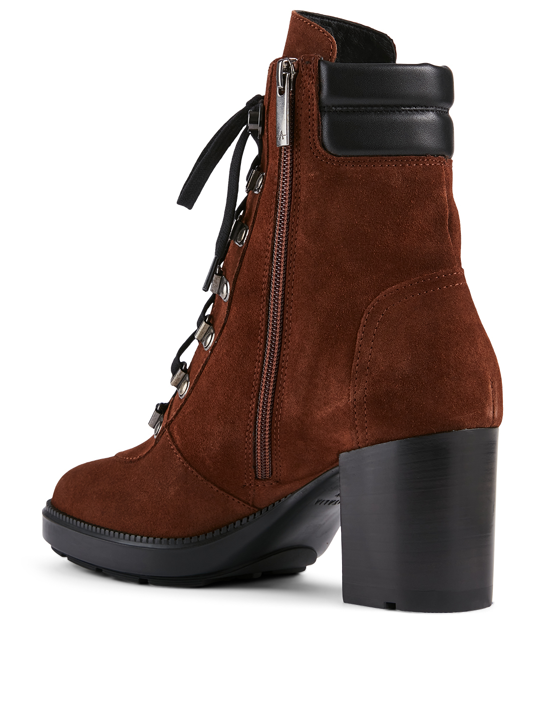 AQUATALIA Iriana Suede Heeled Lace-Up Ankle Boots Women's Brown