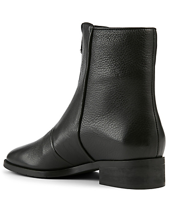 AQUATALIA Tenley Leather Zip-Up Ankle Boots Women's Black