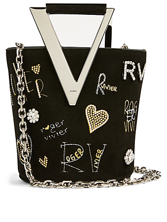 ROGER VIVIER Mini RV Leather Bucket Bag Women's Black
