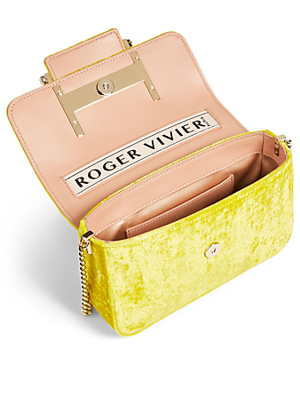 ROGER VIVIER Micro Très Vivier Strass Buckle Velvet Bag Women's Yellow
