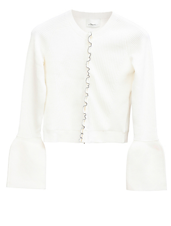 3.1 PHILLIP LIM Wool Ribbed Cardigan Women's White