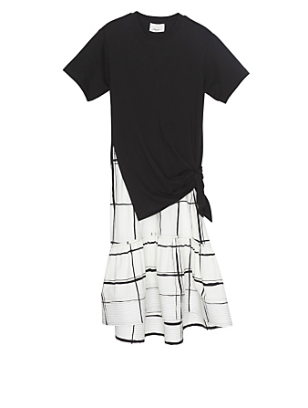 3.1 PHILLIP LIM Cotton Combo T-Shirt Dress With Side Tie Women's Black