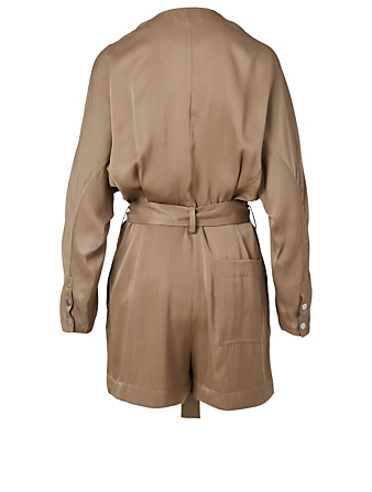 3.1 PHILLIP LIM Satin Long-Sleeve Romper With Belt Women's Neutral