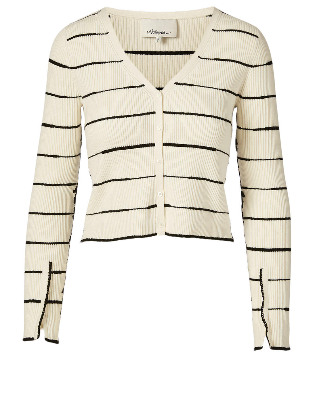 3.1 PHILLIP LIM Cotton And Cashmere Cardigan In Striped Print Women's White