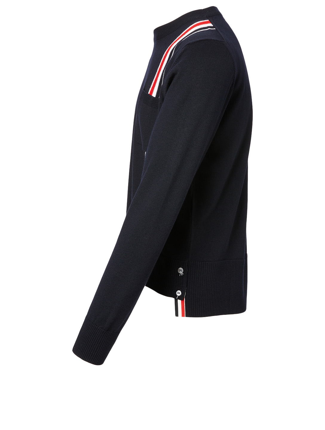 THOM BROWNE Wool Sweater With Intarsia Stripe Men's Blue