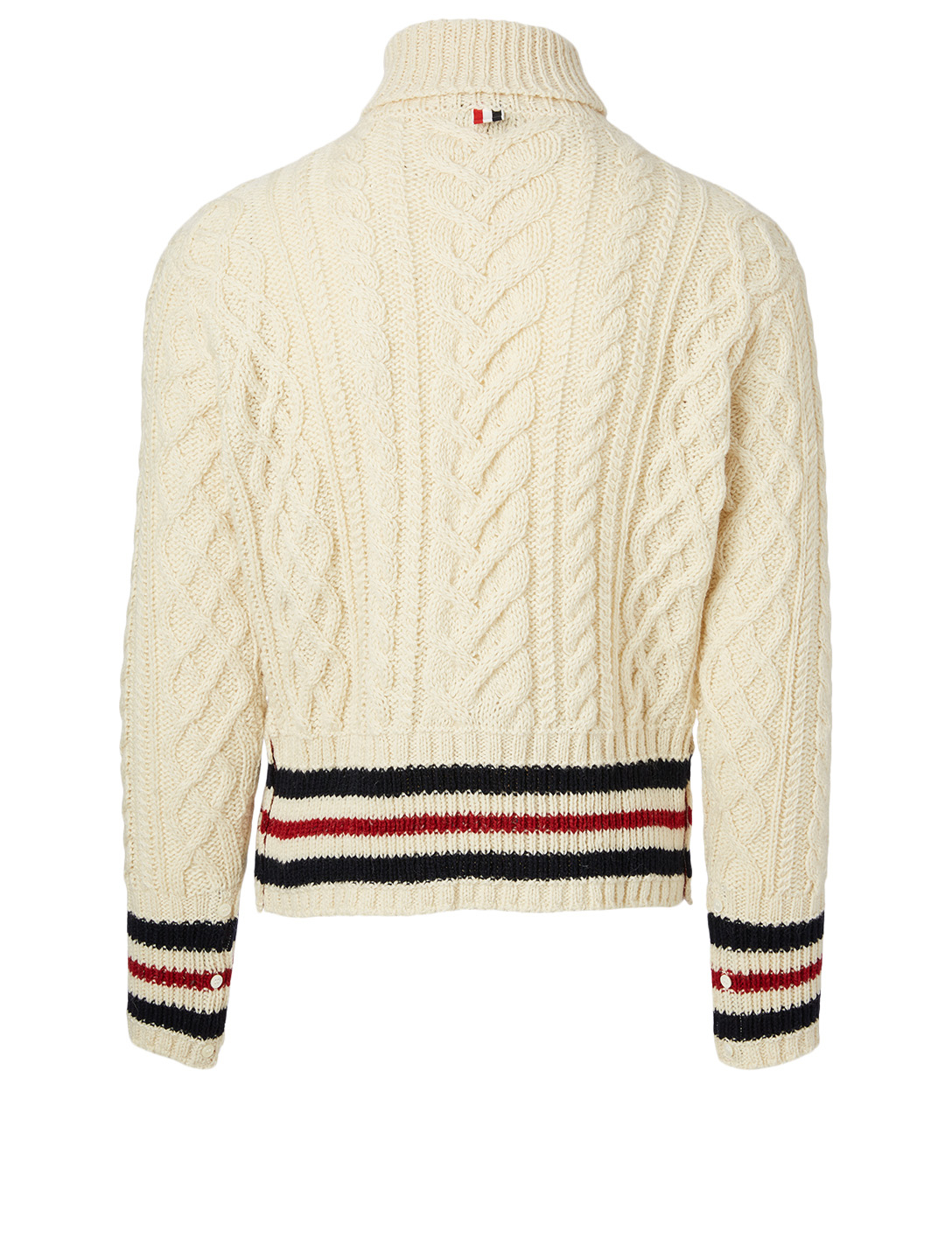 THOM BROWNE Wool And Mohair Turtleneck Aran Cable Sweater Men's White