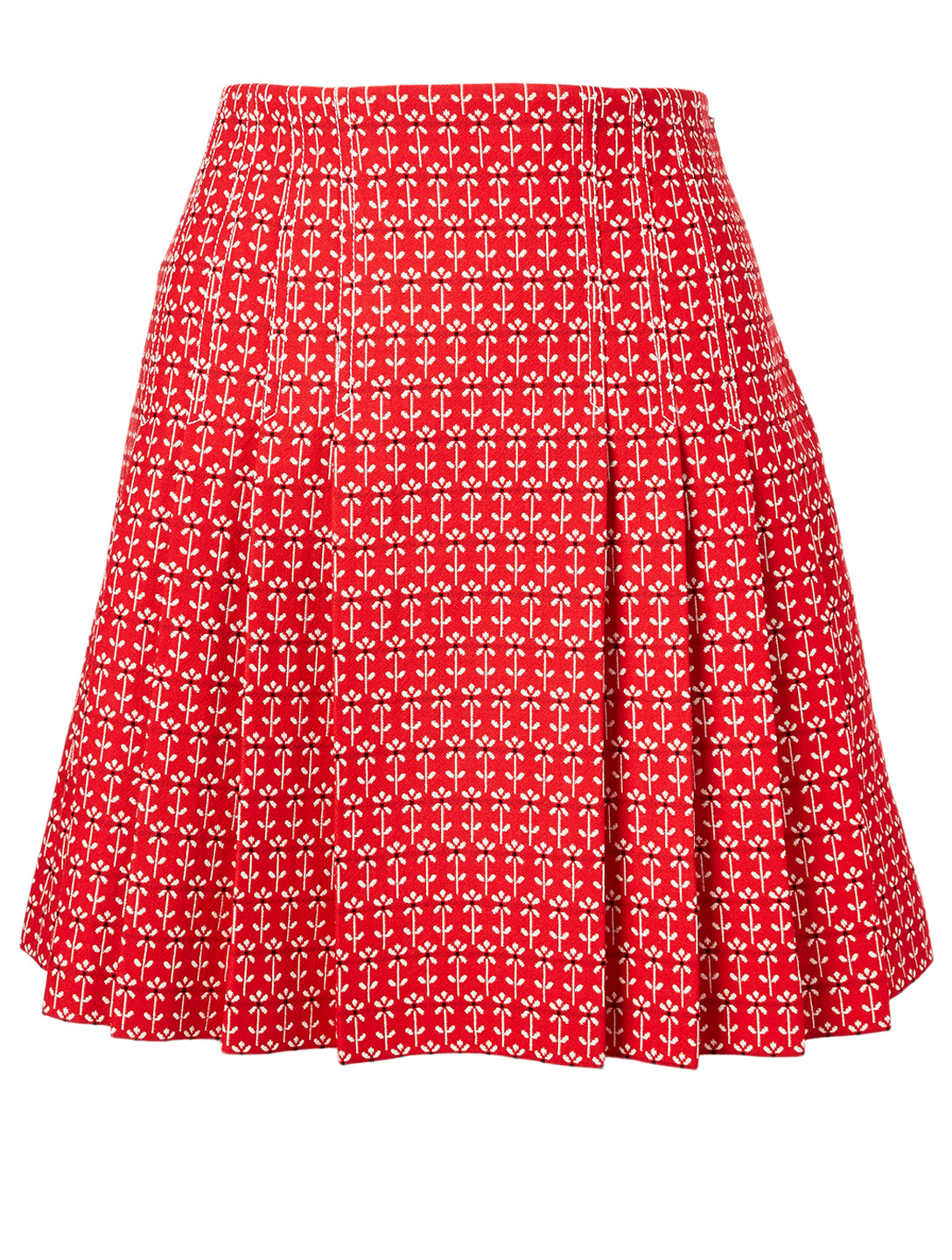 GUCCI Cotton And Wool Jacquard Mini Skirt In Daisy Print Women's Red