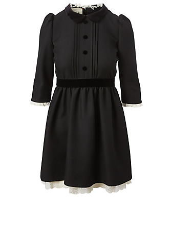GUCCI Silk And Wool Mini Dress With Lace Women's Black