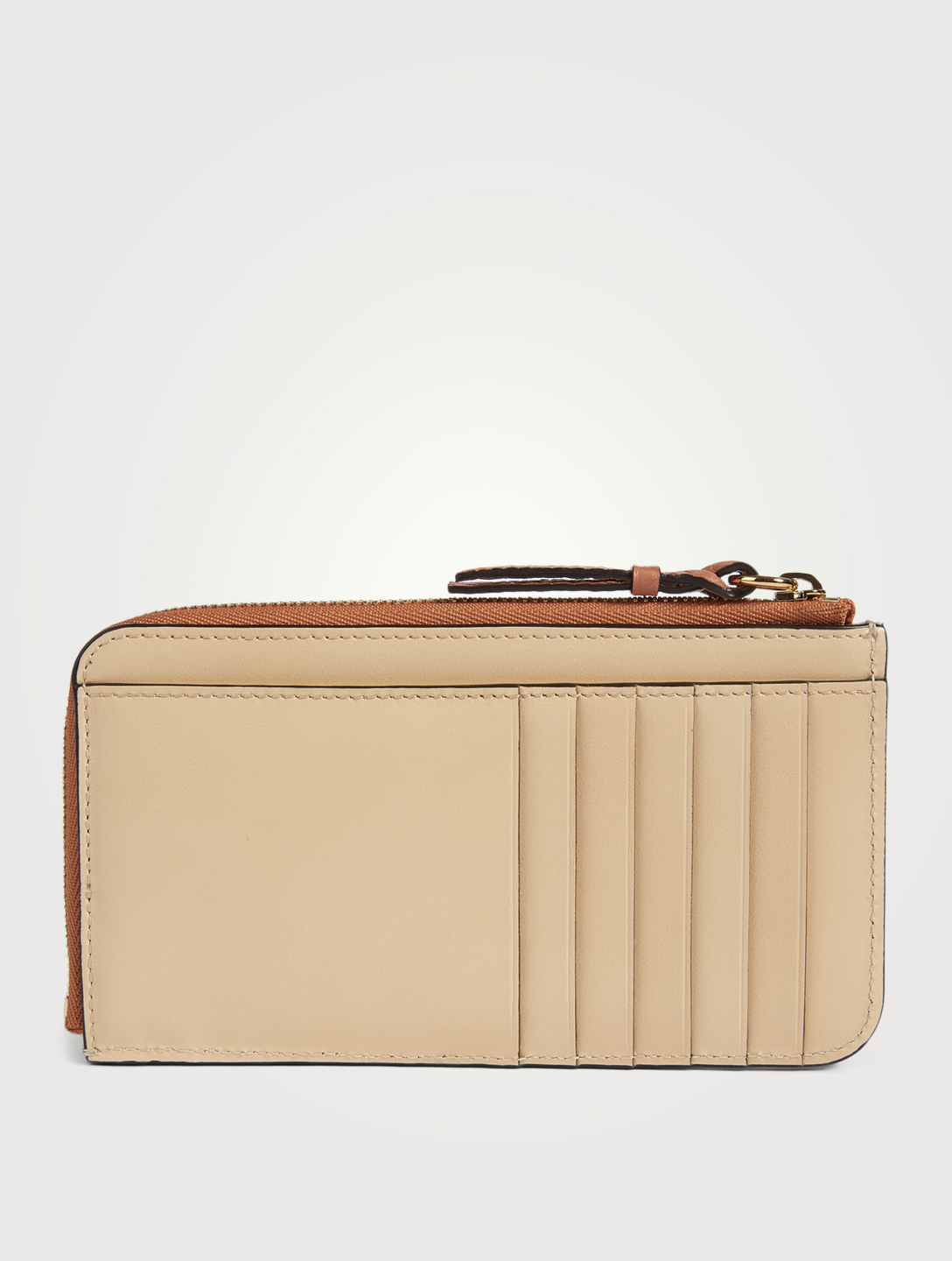 CHLOÉ Walden Leather Zippered Card Holder Women's Beige