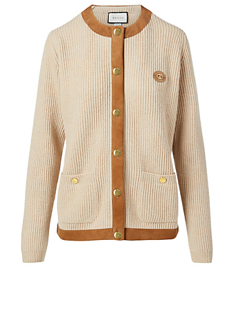 GUCCI Cotton Cardigan With Suede Detail Women's Beige