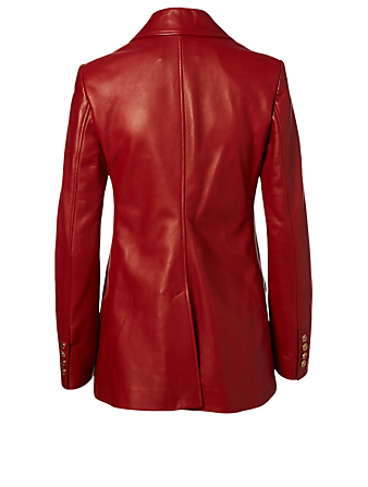 GUCCI Plongé Leather Jacket Women's Red