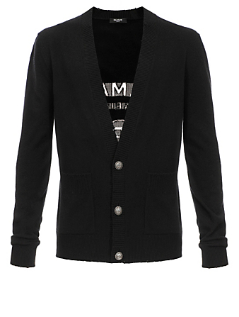 BALMAIN Wool And Cashmere Cardigan With Logo Men's Black