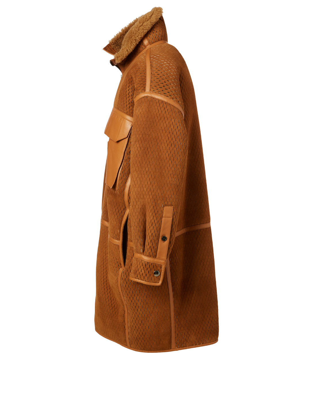 ACNE STUDIOS Suede Laser-Cut Coat With Shearling Lining Men's Brown