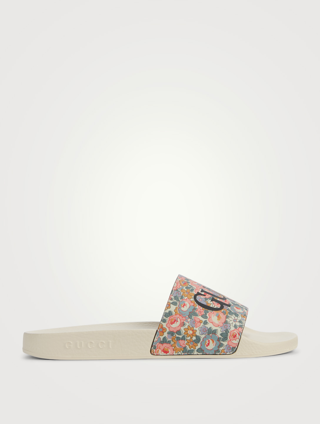 GUCCI Liberty Rubber Logo Slide Sandals Men's Pink
