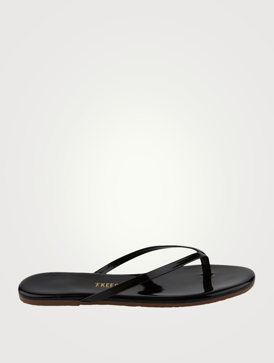 TKEES Lily Patent Leather Thong Sandals Women's Black