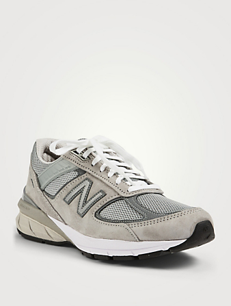 NEW BALANCE Made In US 990v5 Leather And Mesh Sneakers Women's Grey