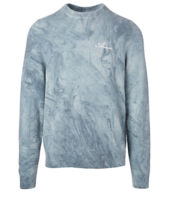 AMIRI Cashmere And Wool Marble Tie Dye Sweater Men's Blue