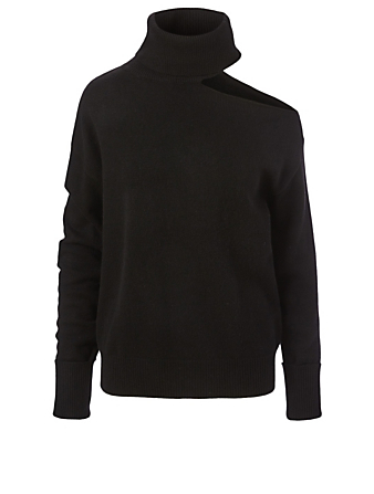 PAIGE Raundi Wool-Blend Cold-Shoulder Sweater Women's Black