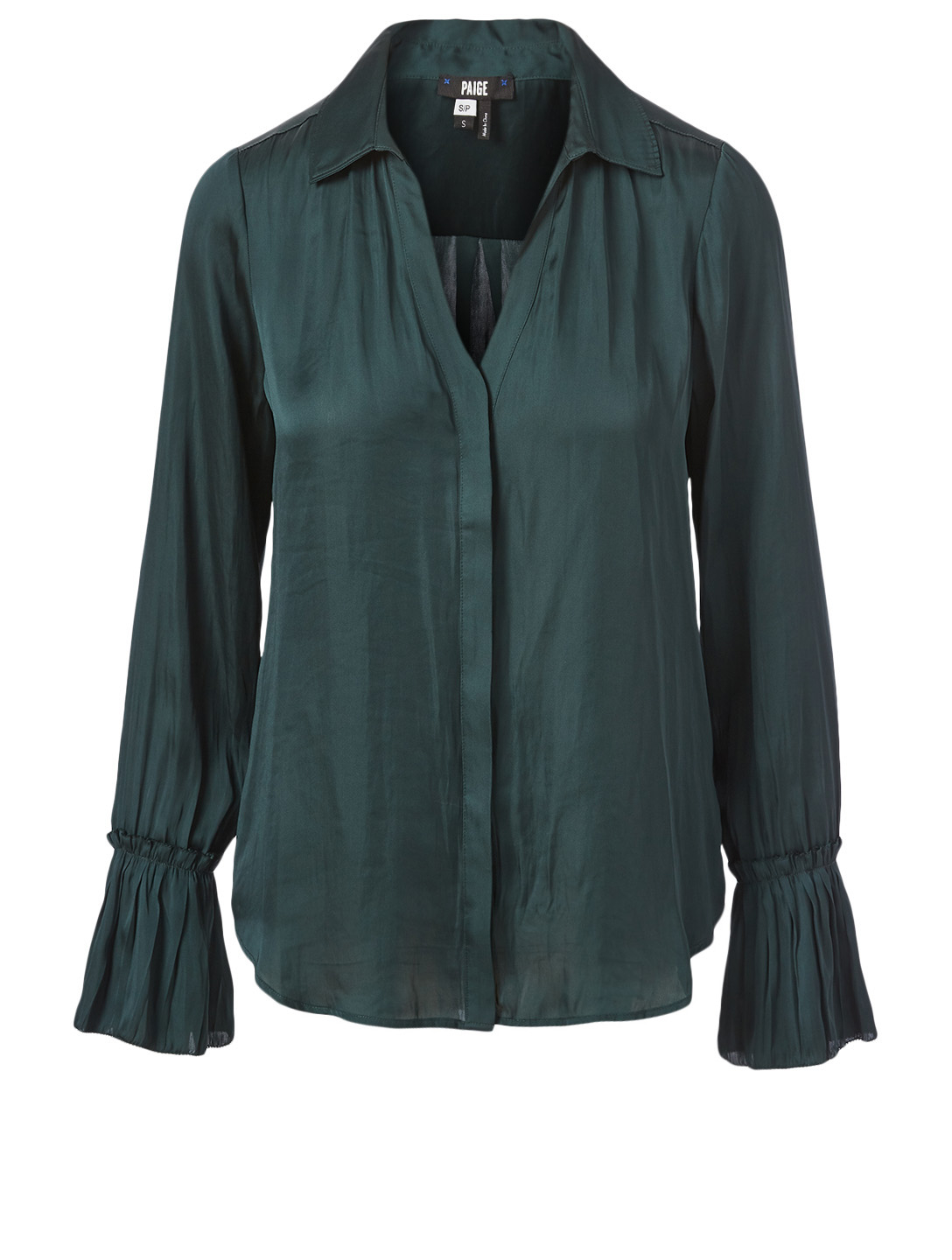 PAIGE Abriana Satin Blouse Women's Green