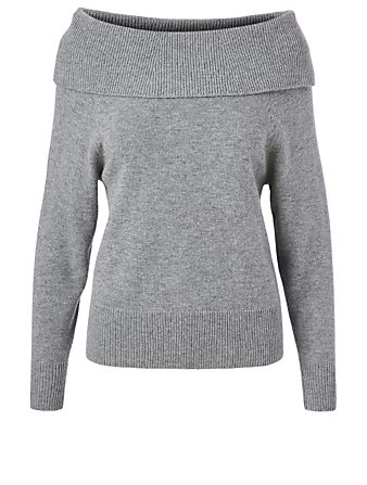PAIGE Izabella Wool-Blend Off-The-Shoulder Sweater Women's Grey