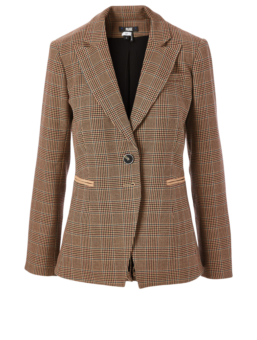 PAIGE Chelsee Blazer In Houndstooth Plaid Print Women's Beige