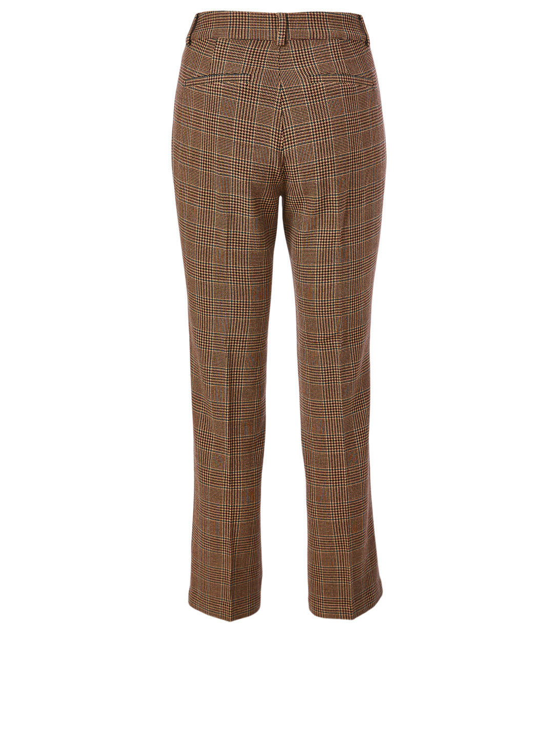 PAIGE Claudine High-Waisted Pants In Houndstooth Plaid Print Women's Beige