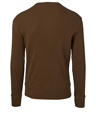 TOM FORD Ribbed Henley Top Men's Brown