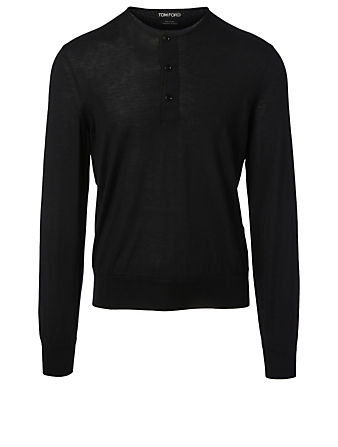 TOM FORD Cashmere And Silk Henley Shirt Men's Black