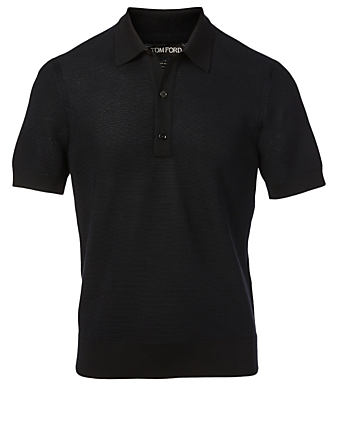 TOM FORD Silk And Cashmere Polo Top Men's Blue