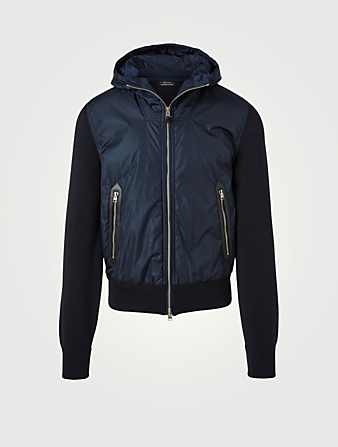 TOM FORD Wool And Nylon Jacket With Hood Men's Blue