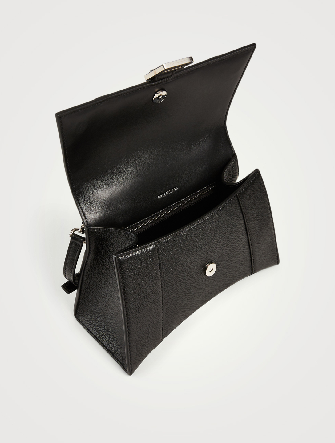 BALENCIAGA Small Hourglass Leather Bag Women's Black