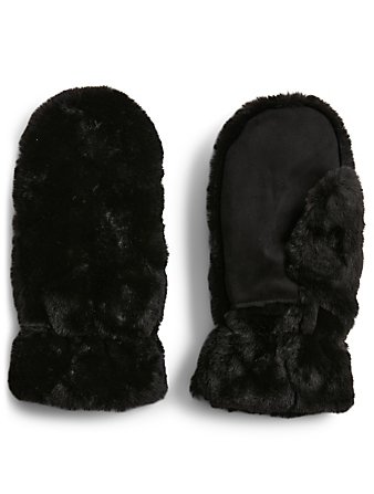 APPARIS Malka Recycled Faux Fur Mittens Women's Black
