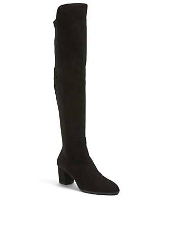 STUART WEITZMAN Harper 60 Suede Heeled Over-The-Knee Boots Women's Black