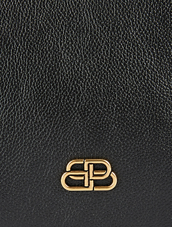 BALENCIAGA BB Plaque Leather Pouch Women's Black