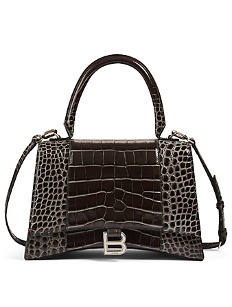 BALENCIAGA Medium Hourglass Croc-Embossed Leather Bag Women's Grey