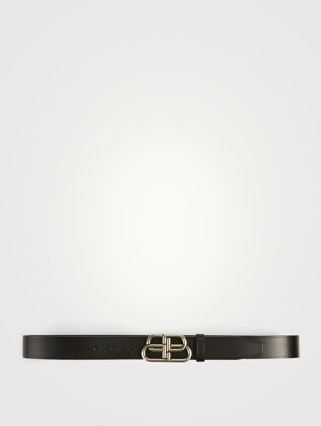 BALENCIAGA Leather Belt With Logo Buckle Men's Black